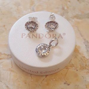 Authentic pandora signature earrings / pendant set